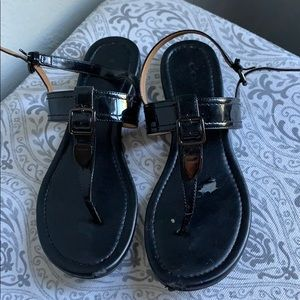 Black Coach buckle sandals